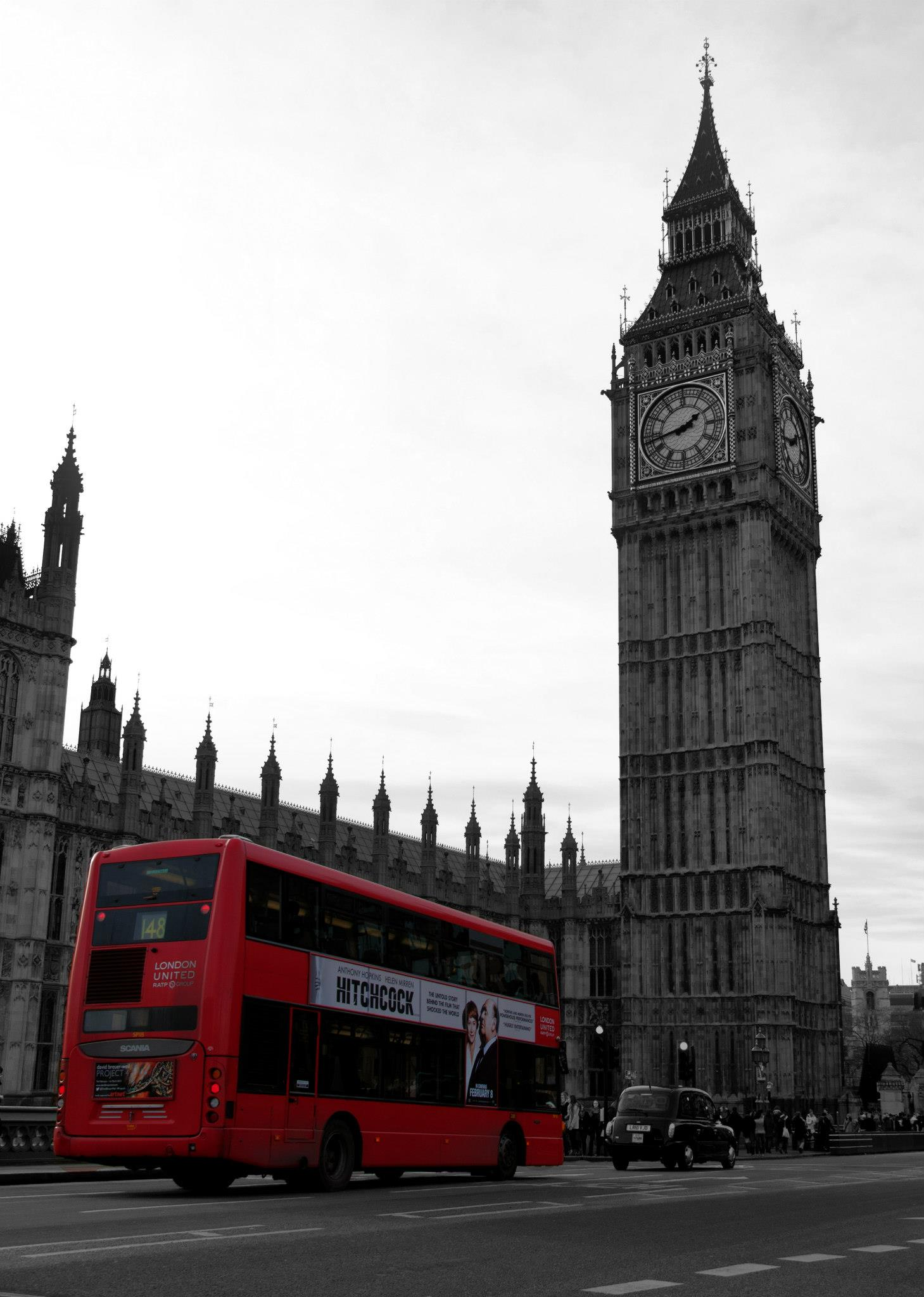 B&W Big Ben & Red Bus
